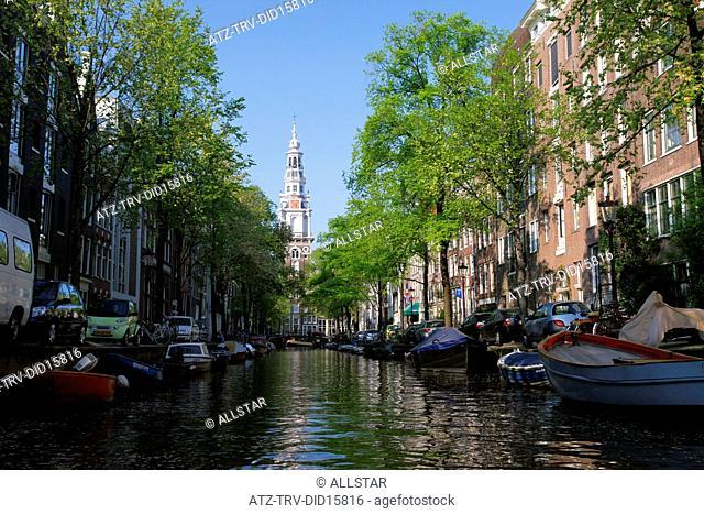 CANAL & SOUTH CHURCH, ZUIDERKERK; AMSTERDAM, HOLLAND; 23/04/2011