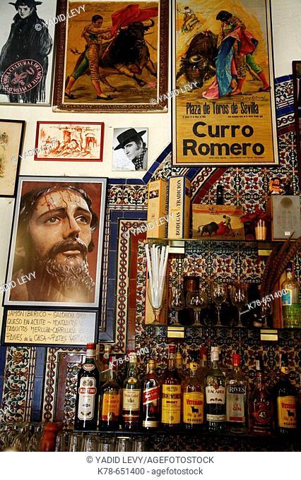 Decorated wall at Casa Placido, a Tapas bar in Santa Cruz, Seville, Spain