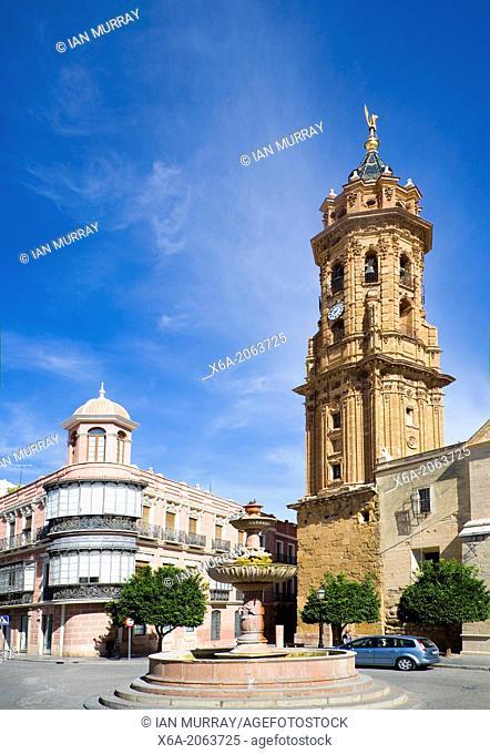 Historic buildings church and plaza San Sebastian, centre of Antequera, Spain
