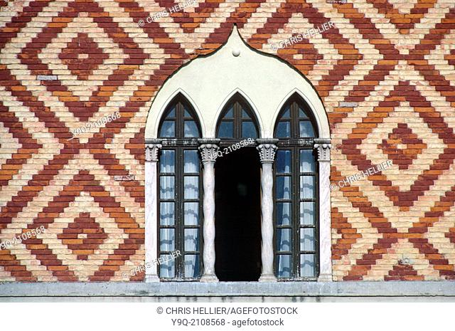 Gothic Window & Patterned Brickwork Governor's Palace Rhodes Greece