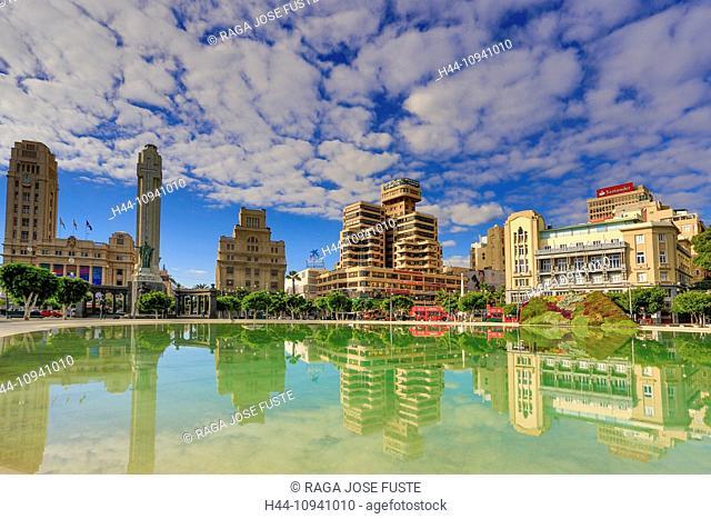 Spain, Europe, Canary Islands, Espana Square, Santa Cruz de Tenerife, Santa Cruz, Tenerife Island, Tenerife, Teneriffa, War monument, architecture, downtown