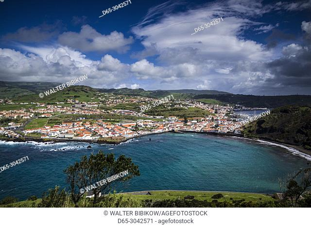Portugal, Azores, Faial Island, Horta, elevated view of town and Porto Pim from Monte de Guia