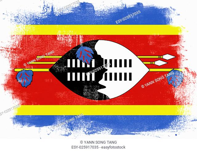 Flag of Swaziland painted with brush on solid background