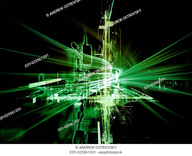 Toward Technology series. Background design of light trails and fractal structures on the subject of science, education and technology