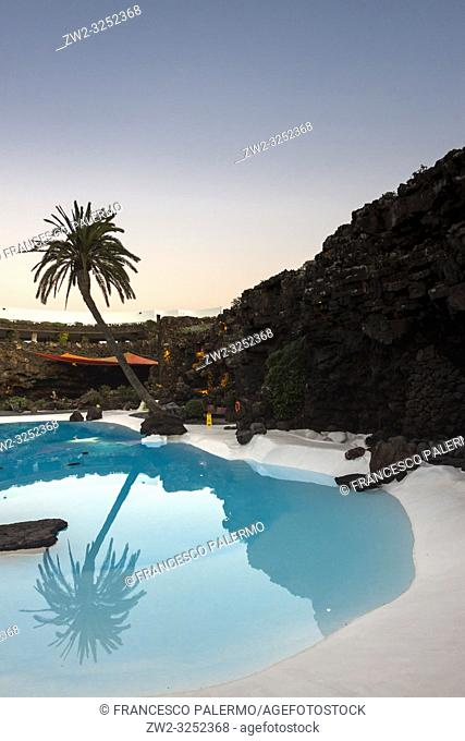 Pool designed and built inside a volcanic cave. Jameos del Agua, Lanzarote. Spain