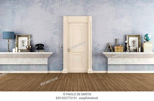 Retro home entrance with masonry shelf