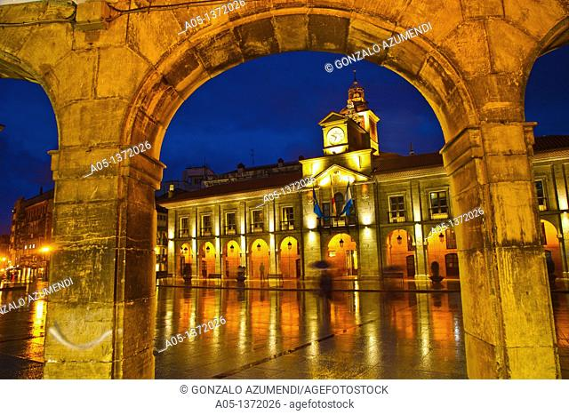 City hall in Plaza de España Spain Square  Aviles  Asturias  Spain