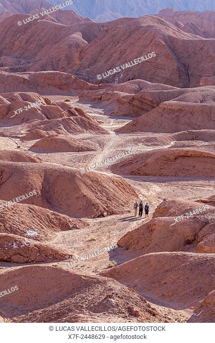 walking in search of Quebrada del Diablo (Devil's gorge), Atacama desert, near San Pedro de Atacama, Antofagasta Region, Chile