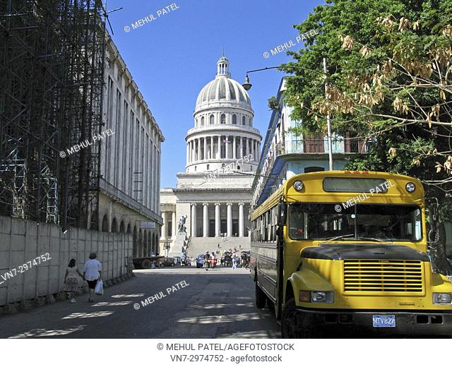 El Capitolio - Havana, Cuba. The former government building is now home to the Cuban Academy of Sciences and a major tourist attraction