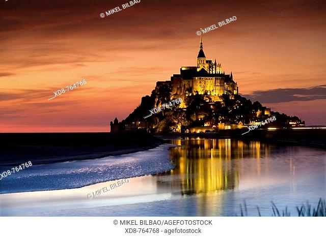 St Michael's Mount and its Bay at sunset, Manche Department, Basse-Normandie region, Normandy, France, Europe (july 2008)