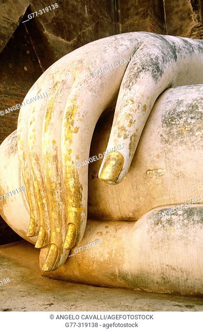 Detail of a Buddha's statue in the temple Wat Si Chum. Sukhotai. Thailand