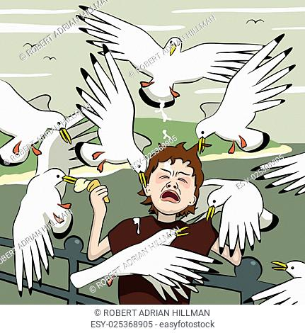 Vector illustration of a young boy getting mobbed by gulls after his icecream