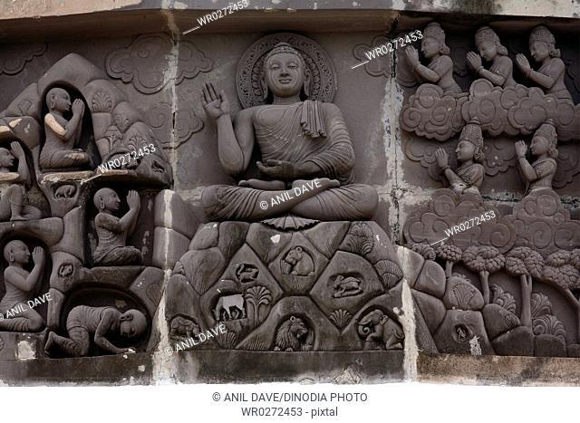 God Buddha statues , Dhauli stone carving near Bhubaneswar , Orissa , India