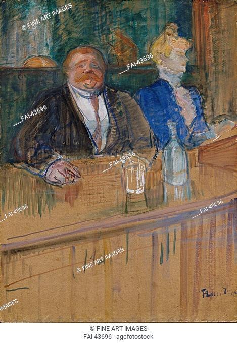 At the Cafe. The Customer and the Anemic Cashier. (Au café: le patron et la caissière chlorotique) by Toulouse-Lautrec, Henri