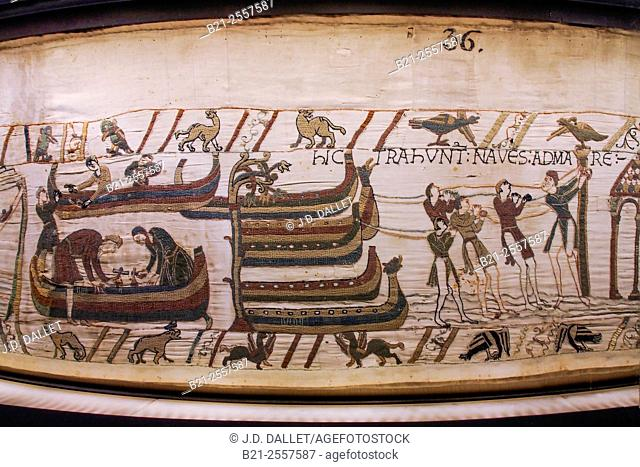 Detail of the Bayeux Tapestry (n. 36), Bayeux, Calvados, Normandy, France