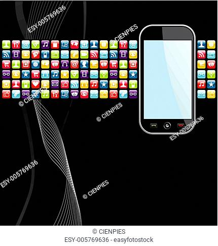 Mobile phone apps icons background