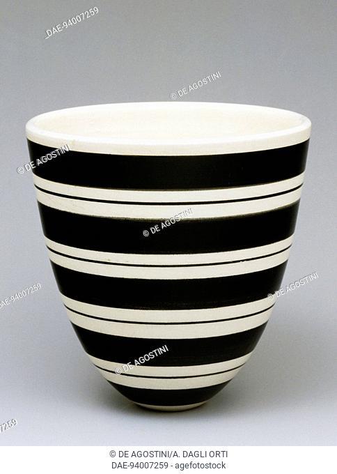 Plant pot with decorative bands, 1960s, ceramics. United Kingdom, 20th century