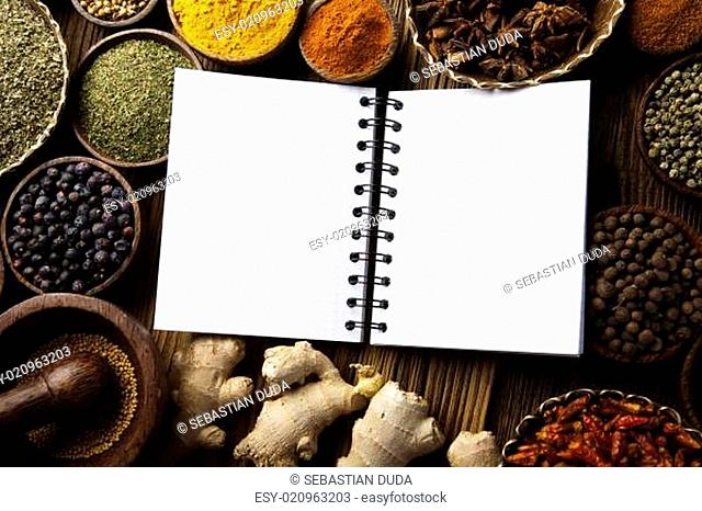 Cookbook and various spices