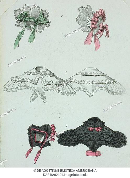 1 Bonnet adorned with green and pink ribbons, 2 Embroidered cotton ruffle collars, 3 Bonnet and blacks blouse adorned with pink bows, plate 12, French Fashions