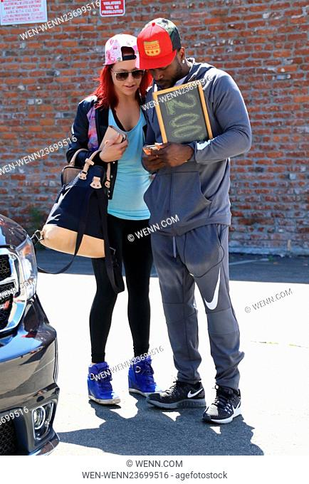 Celebrities at the 'Dancing with the Stars' rehearsal studios Featuring: Sharna Burgess, Antonio Brown Where: Hollywood, California
