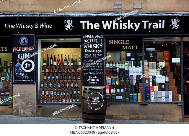 Scotland, Edinburgh, the Whisky Trail Shop