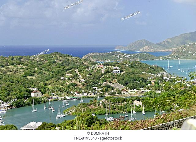 English Harbour and Falmouth Bay, Antigua, Lesser Antilles, the Caribbean, America