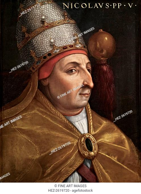 Portrait of Pope Nicholas V (Giovio Series), 1568. Artist: Dell'Altissimo, Cristofano (1525-1605)