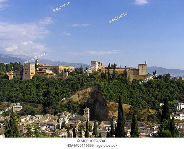 The Alhambra seen from the mirador San Nicolas, Granada, Andalucia, Spain