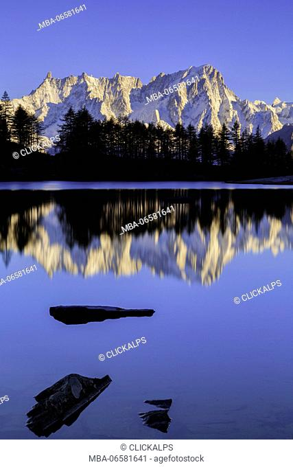 Gran Jorasses from Arpy lake, Mont Blanc, courmayeur, val d'aosta, italy, europe