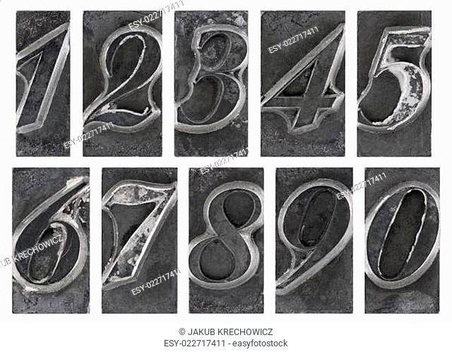 Old metal type numbers isolated on white