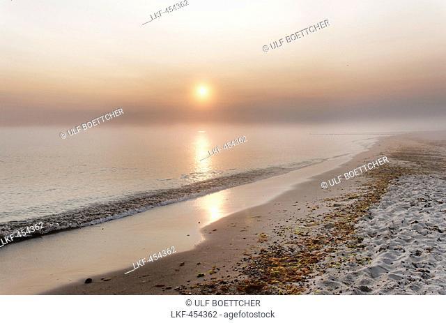 Beach at Kuehlungsborn West at sunrise, Seaside resort of Kuehlungsborn, Mecklenburg-Western Pomerania, Germany