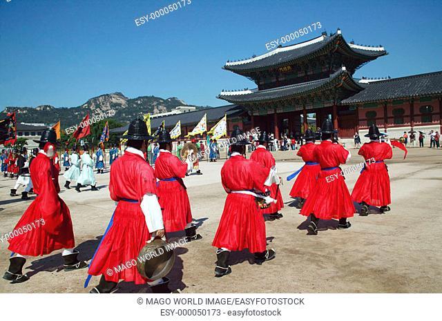 Republic of Korea, Seoul, Gyeongbokgung Palace, Changing of the Royal Guard at Gwanghwamun Gate. 2004