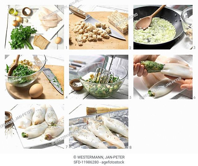 How to prepare grilled calamari tubes with a herb stuffing