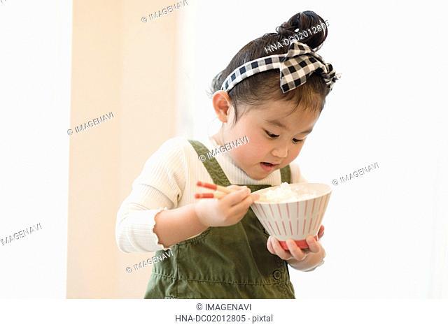 Girl having meal