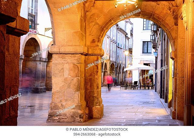 Arcade in the center of the city. Santiago de Compostela, A Coruña, Galicia, Spain