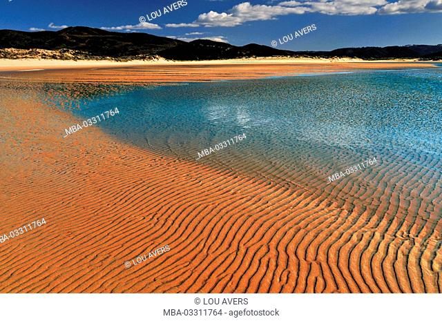 Portugal, Algarve, lagoon and course of a river to the beach Praia da Amoreira in the nature reserve Costa Vicentina