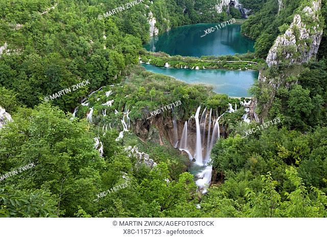 The Plitvice Lakes in the National Park Plitvicka Jezera in Croatia  The lower lakes  The Plitvice Lakes are a string of lakes connected by waterfalls  They are...