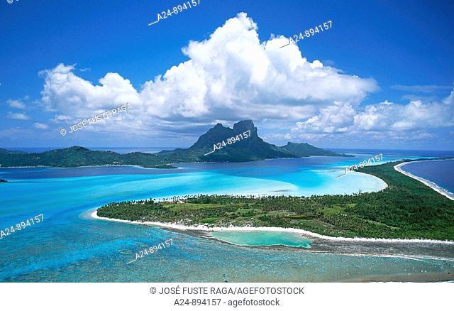 Lagoon and Otemanu Mountain, Bora Bora, Society Islands, French Polynesia