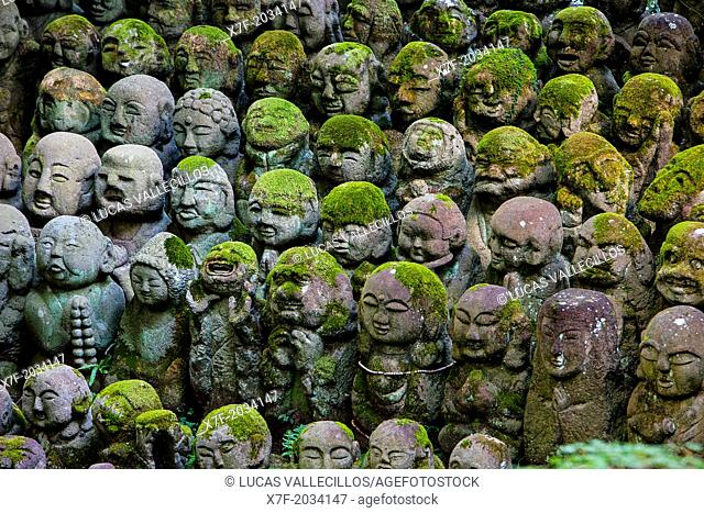 Stone staues at Otagi Nenbutsu ji Temple, Arashiyama Sagano area,Kyoto. Kansai, Japan