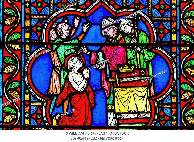 Bishop Blessing King Paris Stained Glass Notre Dame Cathedral Paris France. Notre Dame was built between 1163 and 1250 AD