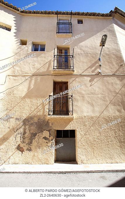 Facade of old house, siete aguas, Spain