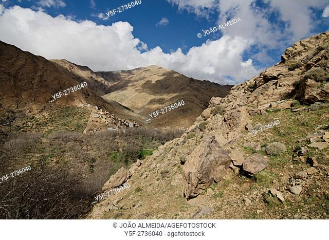 One of the small villages carefully placed in the slopes of the High Atlas Mountains
