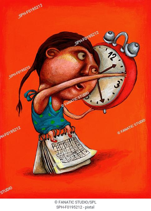 Illustration of girl with alarm clock and calendar