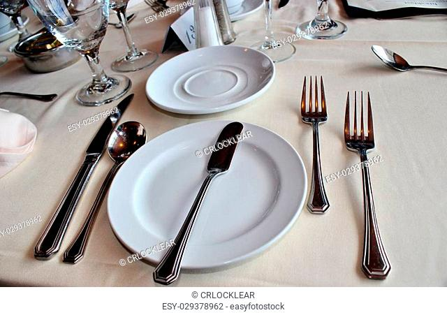 Elegant dining table set with white china and a white tablecloth