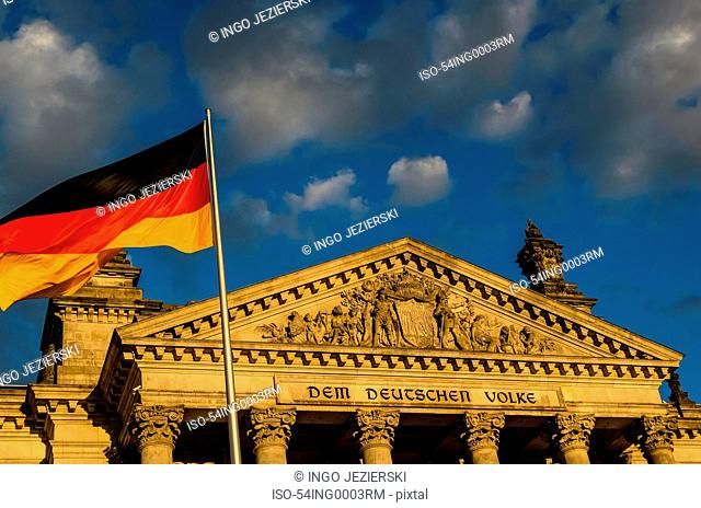 German flag outside German parliament