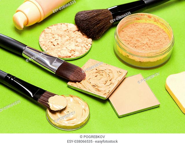 Cosmetics and accessories to create the perfect skin tone and complexion: correcting, compact and loose cosmetic powders, concealer, liquid foundation