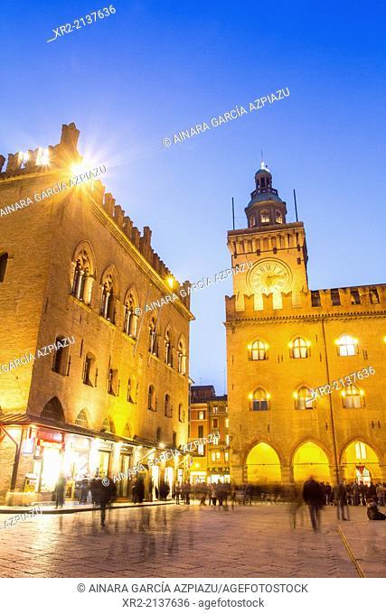Town Hall in the Piazza Maggiore of Bologna at night, Emilia Romagna, Italy