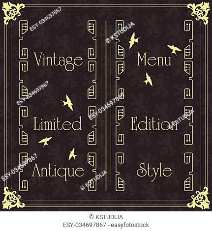 Luxury golden vintage background elements