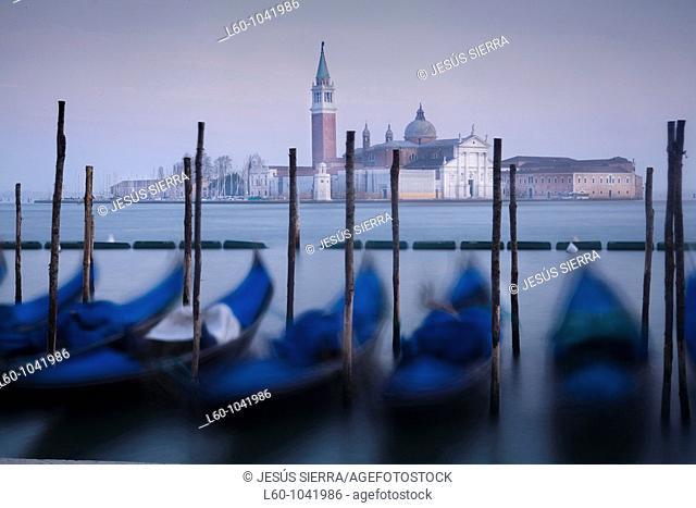 Gondolas and San Giorgio Maggiore in background  Venice  Italy