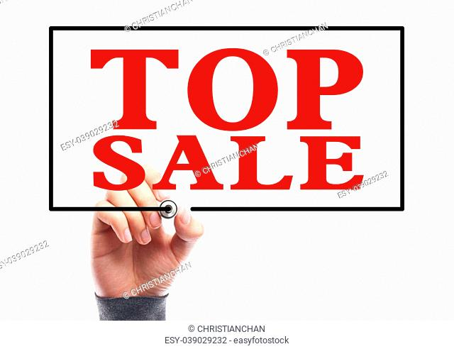 Hand with marker is writing the concept of Top Sale on the transparent whiteboard